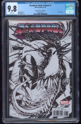 Picture of DEADPOOL BACK IN BLACK #1 CGC 9.8 NM/MT KRS SKETCH COVER B/W (ID 7514)