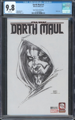 Picture of DARTH MAUL (2017) #1 CGC 9.8 NM/MT MICHAEL TURNER SKETCH VARIANT