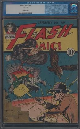 Picture of FLASH COMICS (1940) #49 CGC 6.5 FN+ OW