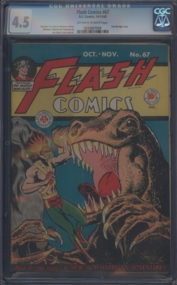 Picture of FLASH COMICS (1940) #67 CGC 4.5 VG+ OWW