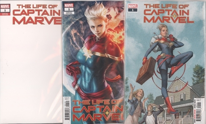 Picture of LIFE OF CAPTAIN MARVEL #1 1ST PRINT BLANK & ARTGERM 3 CVR SET NM