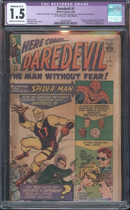 Picture of DAREDEVIL (1964) #1 CGC 1.5 FR/GD COW RESTORED