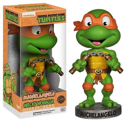 Picture of FUNKO WACKY WOBBLER BOBBLE HEAD T.M.N.T. MICHELANGELLO NEW VAULTED