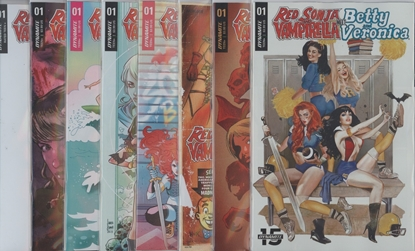 Picture of RED SONJA VAMPIRELLA BETTY VERONICA #1 CVR A B C D E F G & BLANK 8 CVR SET NM