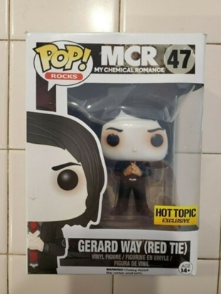 Picture of FUNKO POP ROCKS MY CHEMICAL ROMANCE GERARD WAY (RED TIE) HOT TOPIC EXCLUSIVE ** BOX DMG ** NEW VINYL FIGURE