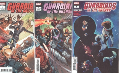 Picture of GUARDIANS OF THE GALAXY ANNUAL #1 1ST PRINT LIM & SMITH 3 CVR SET