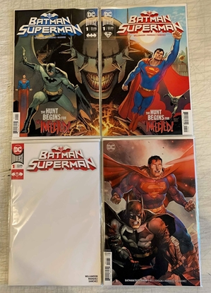 Picture of BATMAN SUPERMAN #1 CONNECTING BLANK VARIANT 4 COVER SET NM