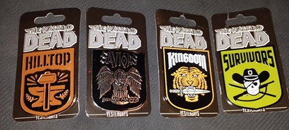 Picture of SKYBOUND YESTERDAYS WALKING DEAD KINGDOM FACTION PINS SET OF 4 NEW SURVIVORS HILLTOP SAVIORS KINGDOM