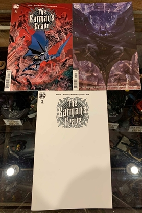Picture of BATMANS GRAVE #1  1ST PRINT BLANK & CARD STOCK 3 COVER SET NM