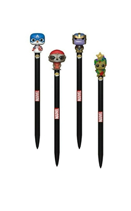 Picture of FUNKO POP! MARVEL HOLIDAY PEN TOPPER SET GROOT ROCKET THANOS CAP AMERICA NEW