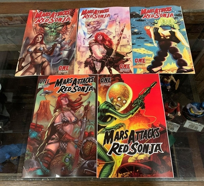 Picture of MARS ATTACKS RED SONJA (2020) #1 CVR A B C D E 5 COVER SET NM