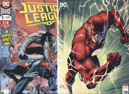 Picture of JUSTICE LEAGUE 2018 #9 / COVER A + B JIM LEE FLASH VARIANT NM