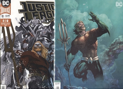 Picture of JUSTICE LEAGUE 2018 #10 / COVER A + B JIM LEE AQUAMAN VARIANT SET NM
