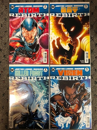 Picture of JUSTICE LEAGUE AMERICA #1 ATOM-VIXEN-RAY-KILLER FROST SET