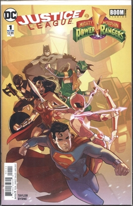 Picture of JUSTICE LEAGUE POWER RANGERS #1 (OF 6) 2ND PRINT KERSCHL VARIANT COVER