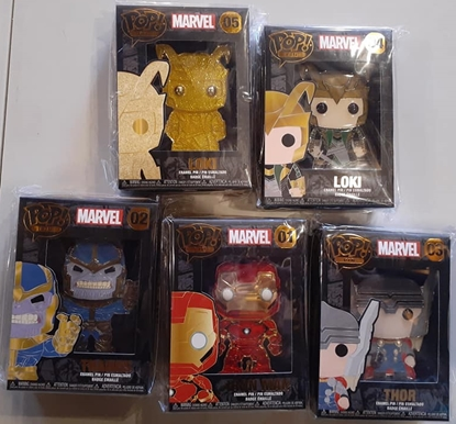 Picture of FUNKO POP! PIN ENAMEL MARVEL 1ST WAVE SET OF 5 W/LOKI CHASE NEW