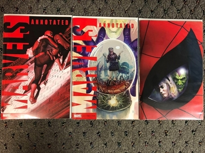 Picture of MARVELS ANNOTATED #4 / 1ST PRINT + VIRGIN + HANS VARIANT COVER SET NM