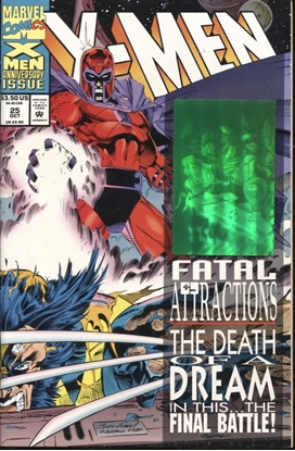 Picture of X-MEN (1991) #25 / 1ST PRINT HOLOGRAM COVER / 8.5 VF+