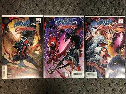 Picture of KING IN BLACK: GWENOM VS CARNAGE #1 2 3 / 1ST PRINT SET NM