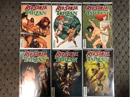 Picture of RED SONJA TARZAN #1 2 3 4 5 6 / COVER A 1ST PRINT SET / SIMONE DYANMITE NM