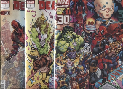 Picture of DEADPOOL NERDY 30 #1 / 3-COVER SET A B D HAWTHORNE LIEFELD NM