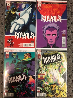 """Picture of ROYALS #9 10 11 12 / MARVEL LEGACY """"FIRE FROM HEAVEN"""" PART 1-4 SET NM"""