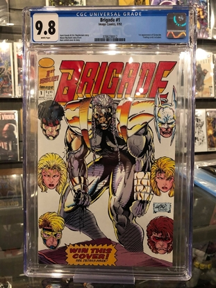 Picture of BRIGADE (1992) #1 / 1ST GENOCIDE W-CARDS / CGC 9.8 NM/MT