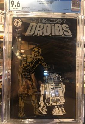 Picture of STAR WARS DROIDS (1994) #1 CGC 9.6 NM+ / EMOBOSSED COVER C-3PO R2D2