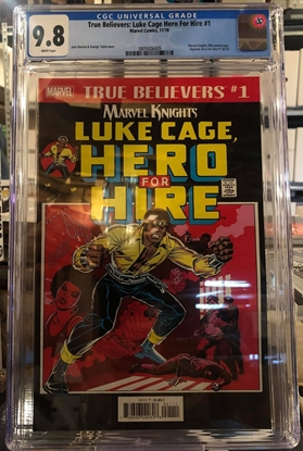 Picture of TRUE BELIEVERS LUKE CAGE HERO FOR HIRE #1 CGC 9.8 NM/MT REPS 1972