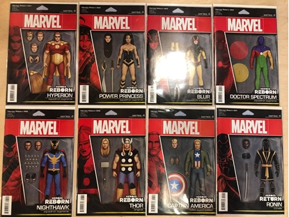 Picture of HEROES REBORN #1 2 3 4 5 6 7 + RETURN #1 / CHRISTOPHER ACTION FIGURE VARIANT COVER SET