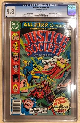 Picture of ALL STAR COMICS #68 / CGC 9.8 NM/MT WHITE PAGES / GREEN LANTERN VS JSA DC COMICS