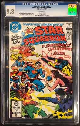 Picture of ALL STAR SQUADRON #22 / CGC 9.8 NM/MT / WHITE PAGES VS DEATHBOLT