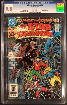 Picture of ALL STAR SQUADRON #24 / CGC 9.8 NM/MT / WHITE PAGES BATMAN APP