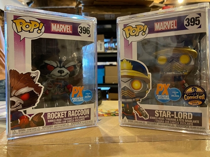 Picture of FUNKO POP! MARVEL STAR-LORD #395+ ROCKET RACCOON#396 SET px previews ex  VAULTED